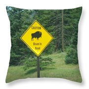 Bison Sign Throw Pillow