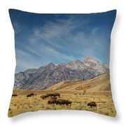 Bison The National Mammal Throw Pillow