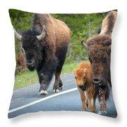 Bison Walking Throw Pillow