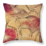 Bisons From The Caves At Altamira Throw Pillow by Prehistoric