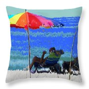 Bit Of Shade On The Beach Throw Pillow