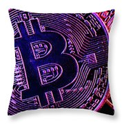 Bitcoin Coins In A Mysterious Lighting Throw Pillow