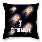 Bitcoin To The Moon Astronaut Cryptocurrency Humor Funny Space Crypto Throw Pillow