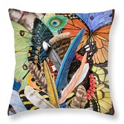 Bits Of Flight Throw Pillow