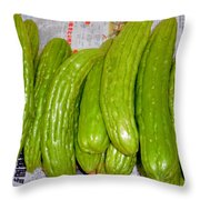 Bitter Gourd At The Market Stall Throw Pillow