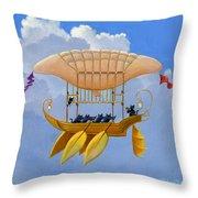 Bizarre Feline-powered Airship Throw Pillow