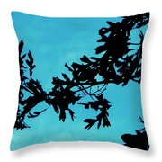 Black And Blue Silhouette Throw Pillow