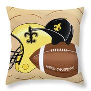 Black And Gold Champs Throw Pillow