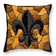 Black And Gold Fleur De Lis Triptych Throw Pillow