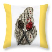 Black And Pink Peppercorns Throw Pillow