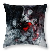 Black And Red Abstract Painting  Throw Pillow