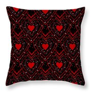 Black And Red Hearts Throw Pillow