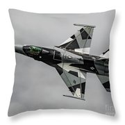 Black And White 18th Aggressor Sqn Viper Topside Against The Grey Throw Pillow