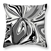 Black And White Abstract Flower Throw Pillow