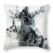 Black And White Abstract Painting  Throw Pillow