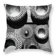 Black And White Abstract Pattern Beautiful Traditional Bowls Throw Pillow
