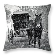 Black And White Amish Buggy Throw Pillow