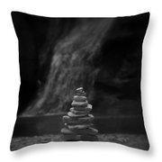 Black And White Balanced Stones Throw Pillow