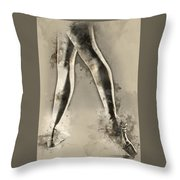 Black And White Ballerina Poster 8  - By Diana Van Throw Pillow