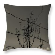 Black And White Barbwire And Branch Throw Pillow