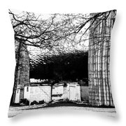Black And White Barn And Silo Throw Pillow