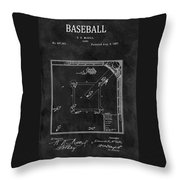 Black And White Baseball Game Patent Throw Pillow