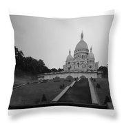 Basilique Du Sacre Coeur In Pre Dawn Paris Bw Throw Pillow