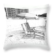 Black And White Beach Chairs Throw Pillow