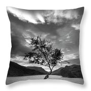 Black And White Beautiful Landscape Image Of Llyn Padarn At Sunr Throw Pillow