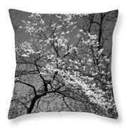 Black And White Blossoms Throw Pillow