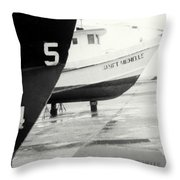 Black And White Boat Reflection Throw Pillow