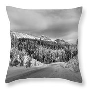 Black And White Bow Valley Parkway - Winter Throw Pillow