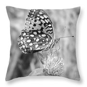 Black And White Butterfly On Clover Throw Pillow