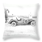 Black And White Car Throw Pillow