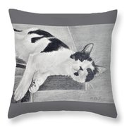 Black And White Cat Lounging Throw Pillow