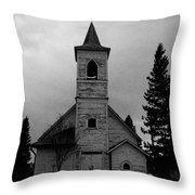 Black And White Church In Williston North Dakota. Throw Pillow