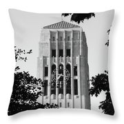Black And White Clock Tower Throw Pillow