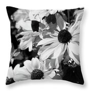 Black And White Coneflowers Throw Pillow
