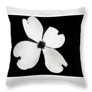 Black And White Dogwood Bloom Throw Pillow