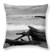 Black And White Driftwood At Whitefish Point Throw Pillow