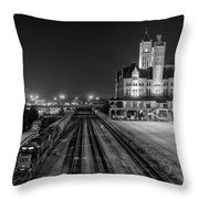 Black And White Fine Art Print Of Union Station In Nashville, Tennessee Throw Pillow