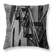Black And White Fire Escape Throw Pillow