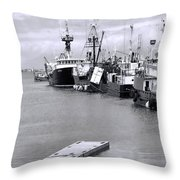 Black And White Fishing Boats On The Dock Throw Pillow