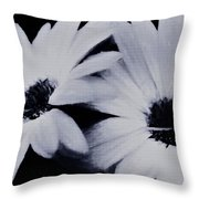 Black And White Floral Art Throw Pillow