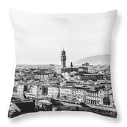 Black And White Florence Italy Throw Pillow