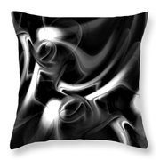Black And White Fractal 080810a Throw Pillow
