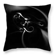 Black And White Fractal 080810b Throw Pillow