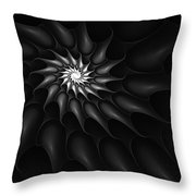 Black And White Fractal 080810c Throw Pillow