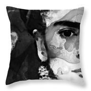 Black And White Frida Kahlo By Sharon Cummings Throw Pillow