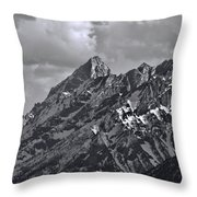 Black And White Grand Teton Detail Throw Pillow